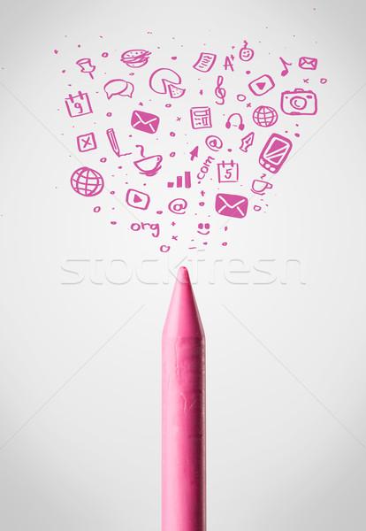 Mum boya sosyal medya simgeler telefon Stok fotoğraf © ra2studio