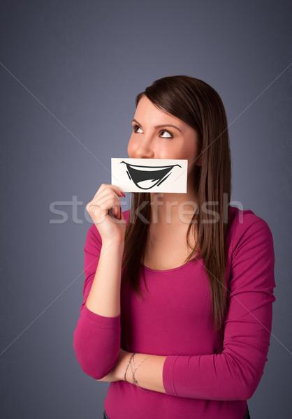 Gelukkig cute meisje papier grappig Stockfoto © ra2studio