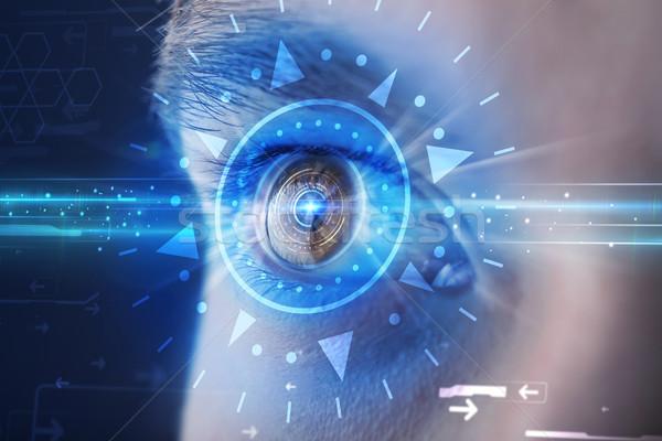 Hombre ojo mirando azul iris moderna Foto stock © ra2studio