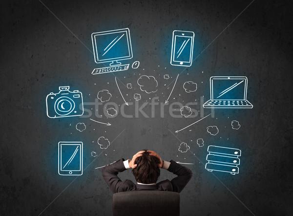 ビジネスマン 座って マルチメディア アイコン 小さな ストックフォト © ra2studio