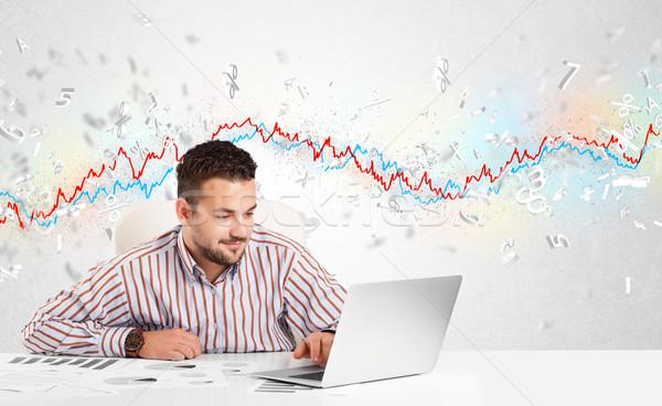 Homem de negócios sessão tabela mercado de ações gráfico 3D Foto stock © ra2studio