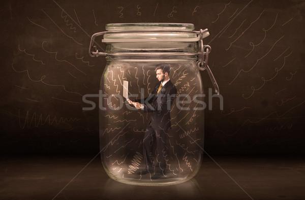 ビジネスマン jarファイル パワフル 手描き 行 ストックフォト © ra2studio