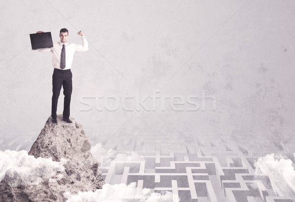 Businessman on cliff above labyrinth Stock photo © ra2studio