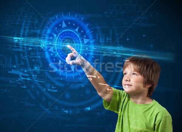 小さな ハイテク 少年 ハイテク コントロールパネル ストックフォト © ra2studio