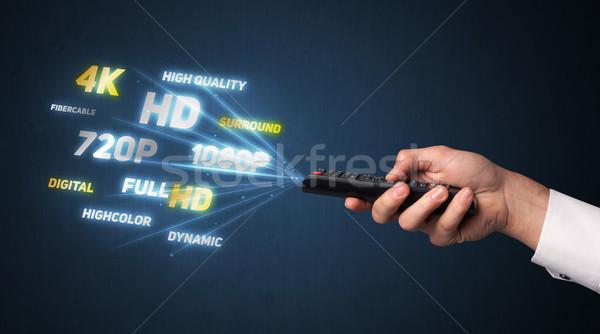Strony pilota multimedialnych na zewnątrz technologii Zdjęcia stock © ra2studio