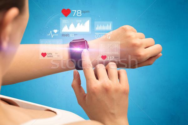 Cardio femenino mano salud aplicación iconos Foto stock © ra2studio