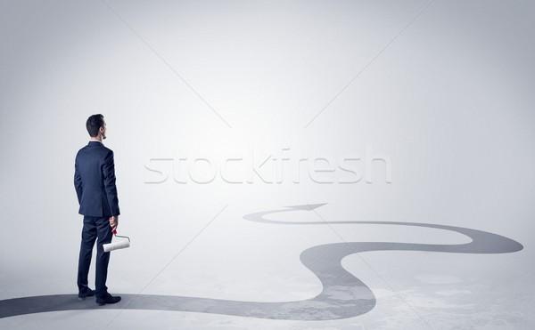 Man richting succes object hand direct Stockfoto © ra2studio