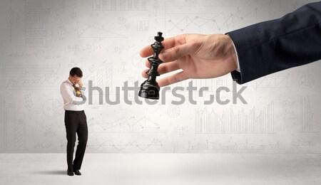 Empresario cara grande mano negocios Foto stock © ra2studio