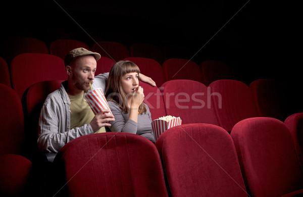 Séance rouge film théâtre jeunes Photo stock © ra2studio