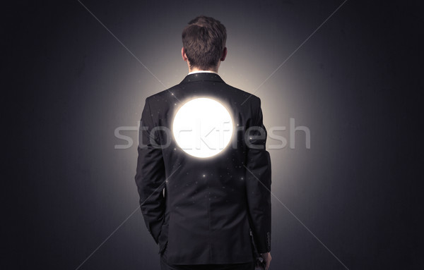 Stock photo: Businessman standing with maze on his back