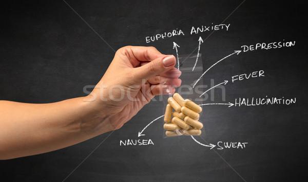 Handing over pills with blackboard wallpaper Stock photo © ra2studio