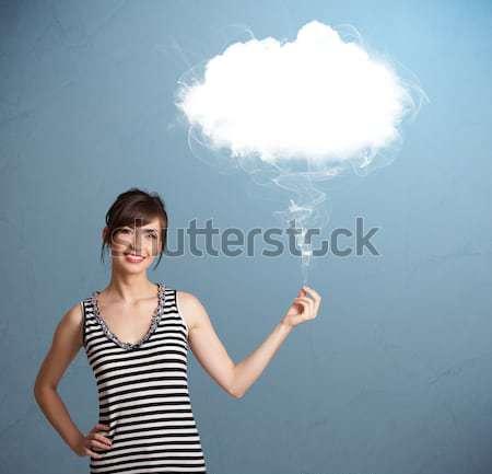 Stockfoto: Mooie · dame · wolk · jonge · vrouw · meisje