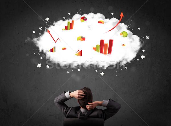 Imprenditore classifiche nube sopra testa giovani Foto d'archivio © ra2studio