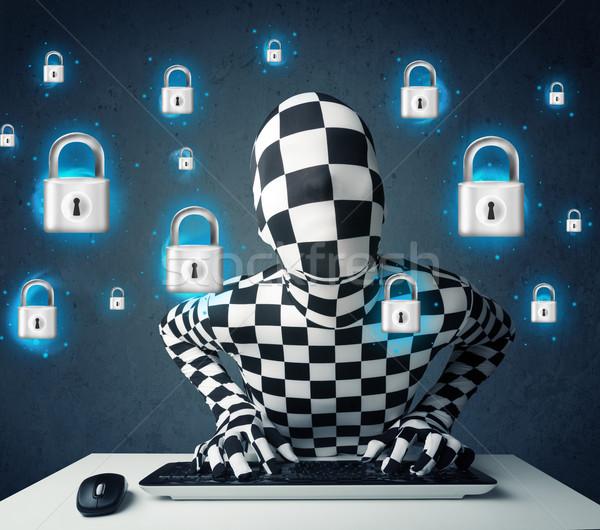 хакер маскировка виртуальный блокировка иконки Сток-фото © ra2studio