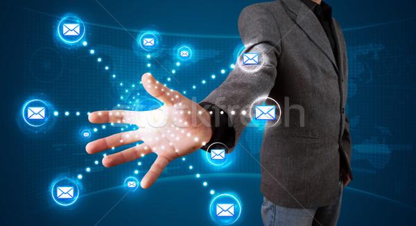 Empresário virtual mensagens tipo ícones Foto stock © ra2studio