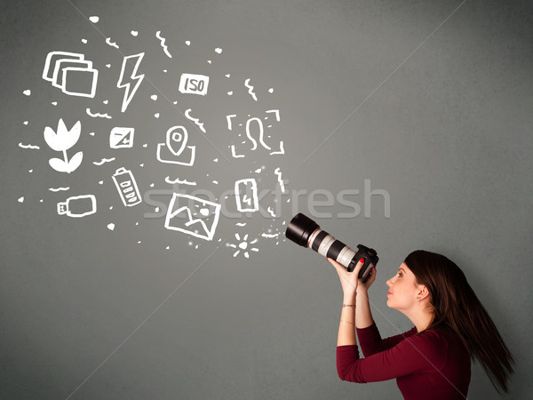 Fotograaf meisje witte fotografie iconen symbolen Stockfoto © ra2studio