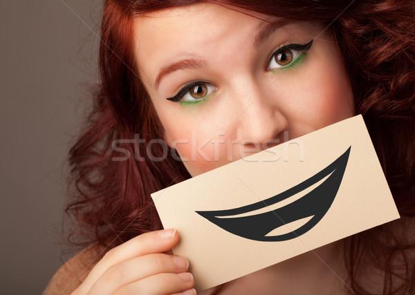 Gelukkig mooie vrouw kaart grappig Stockfoto © ra2studio