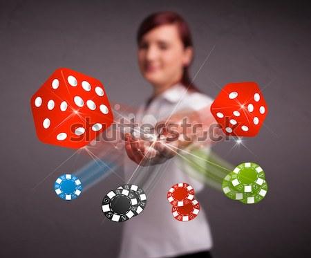 Jeune femme puces joli casino noir Photo stock © ra2studio