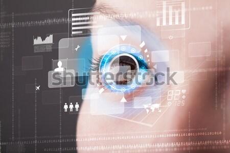 Future woman with cyber technology eye panel concept Stock photo © ra2studio
