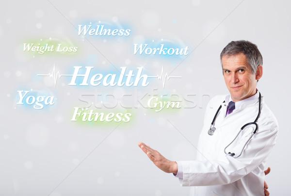 Klinisch arts wijzend gezondheid fitness collectie Stockfoto © ra2studio