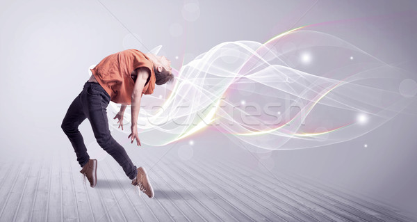 Urban breakdancer dancing with white lines Stock photo © ra2studio
