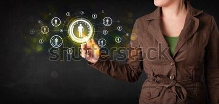 現代 女性実業家 触れる 将来 技術 社会的ネットワーク ストックフォト © ra2studio