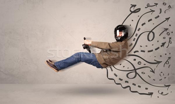 Grappig man rijden vliegen voertuig Stockfoto © ra2studio
