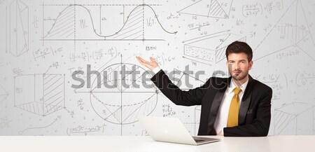 üzletember üzlet üzletember ül fehér asztal Stock fotó © ra2studio