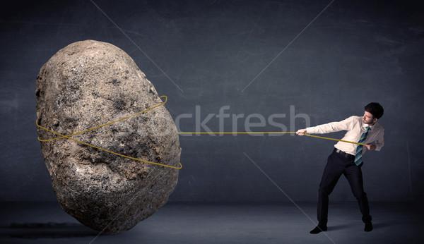 ビジネスマン 巨大な 岩 ロープ 男 ストックフォト © ra2studio