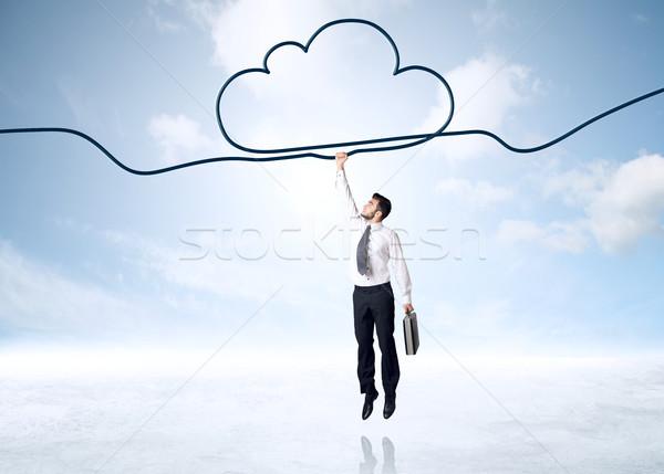 Akasztás üzletember felhő kötél kéz űr Stock fotó © ra2studio