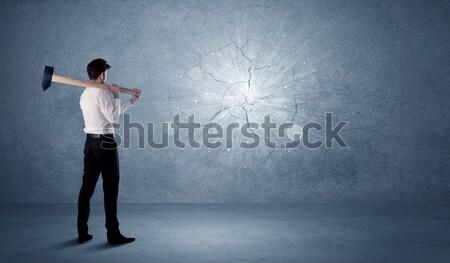 Hombre de negocios pared martillo sucio oficina piedra Foto stock © ra2studio