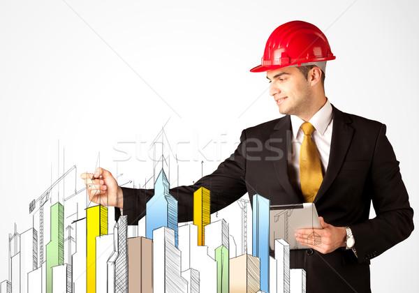 üzletember város látnivaló fiatal építkezés munkás Stock fotó © ra2studio