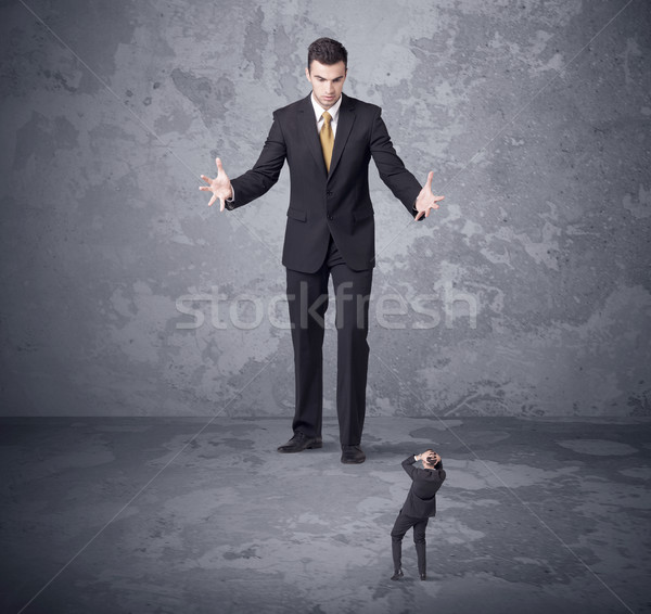 Grande boss guardando minuscolo collega arrabbiato Foto d'archivio © ra2studio