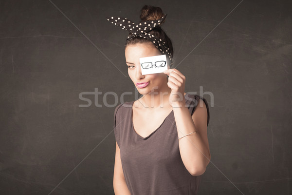 Menina feliz olhando papel olho óculos Foto stock © ra2studio