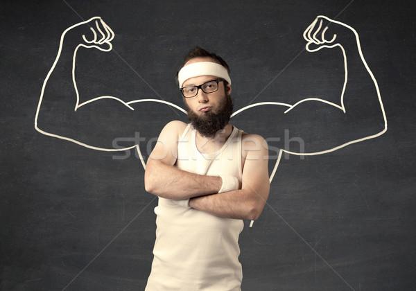 Genç zayıf adam kaslar erkek Stok fotoğraf © ra2studio