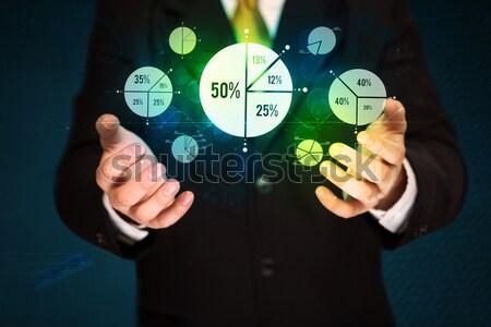 Személy tart tabletta zöld média ikonok Stock fotó © ra2studio