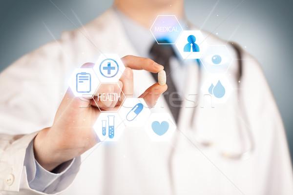 Foto stock: Médico · blanco · píldora · mano · ilustrado