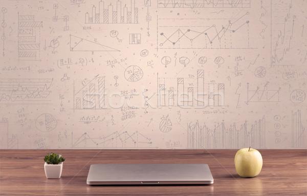 Grafiek charts ontwerper witte Stockfoto © ra2studio