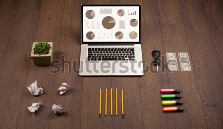 Tortendiagramm Grafik Symbole Laptop Bildschirm Büro Stock foto © ra2studio