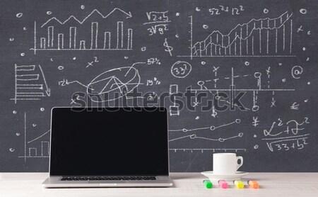 Pénzügyi üzlet táblázatok iroda laptop elegáns Stock fotó © ra2studio