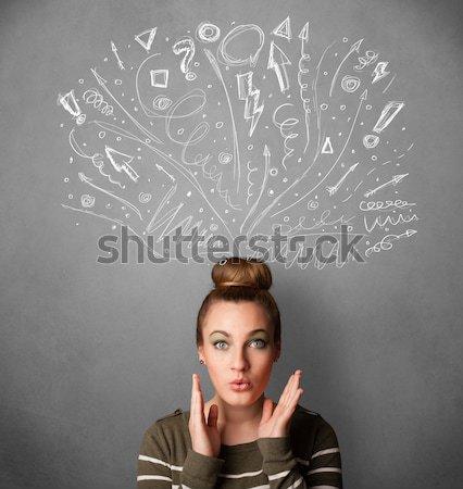 рисованной признаков волос фон Сток-фото © ra2studio