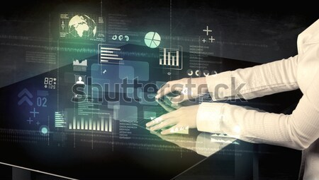 Stockfoto: Zakenman · aanraken · interactieve · moderne · bureau · technologie