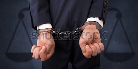 Letartóztatva férfi egyensúly üzletember bilincs kezek Stock fotó © ra2studio