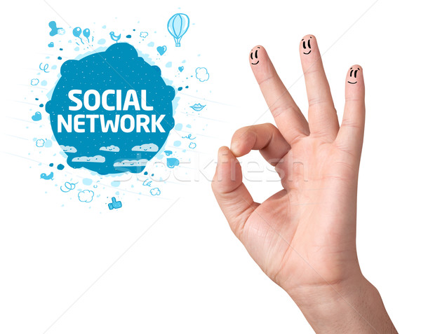 Happy ok fingers with social network sign and icons Stock photo © ra2studio