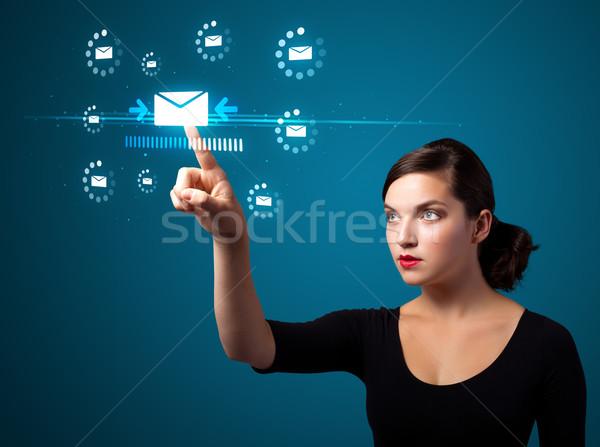 Zakenvrouw virtueel messaging type iconen Stockfoto © ra2studio