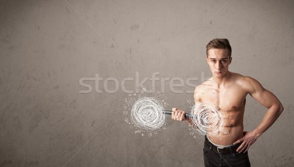 Muscular hombre caos fuerte mano Foto stock © ra2studio