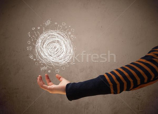 Chaos strony kobieta dłoni działalności Zdjęcia stock © ra2studio