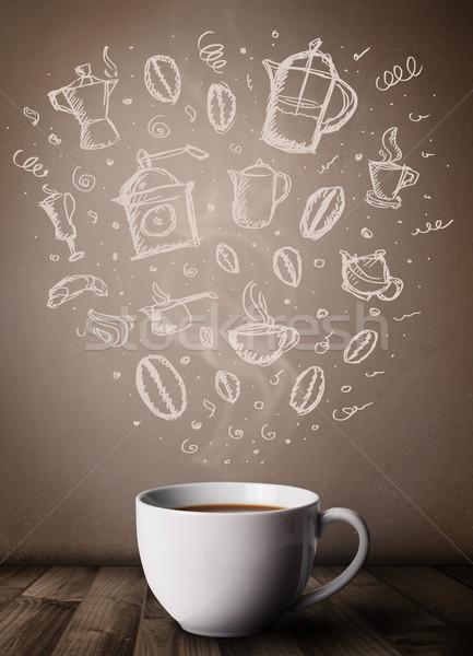 Kávésbögre kézzel rajzolt konyha kellékek közelkép étel Stock fotó © ra2studio