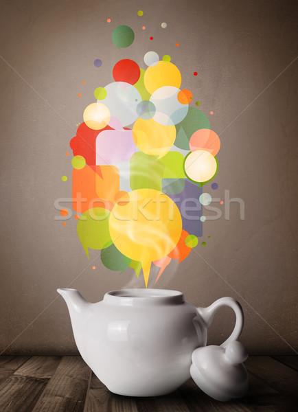 Coffee pot with colorful speech bubbles Stock photo © ra2studio