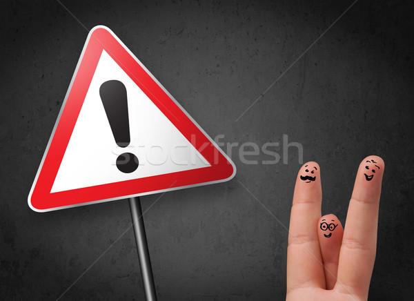 Feliz alegre emoticon dedos olhando triângulo Foto stock © ra2studio